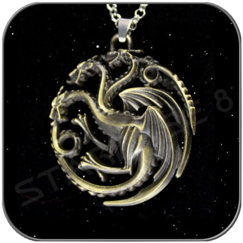 TARGARYEN 3D SYMBOL in ANTIQUE BRONCE with NECLACE