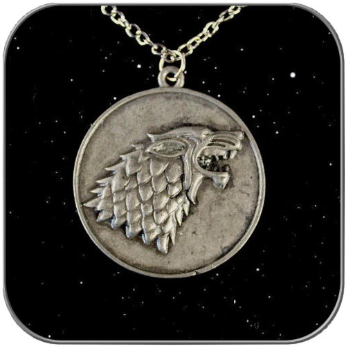 STARK SYMBOL MEDALLION in ANTIQUE SILVER with NECLACE