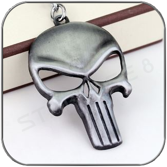 PUNISHER SYMBOL BRUSCHED SILVER KEYCHAIN - MARVEL CINEMATIC