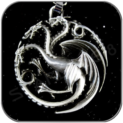 TARGARYEN 3D SYMBOL in ANTIQUE SILVER with NECLACE
