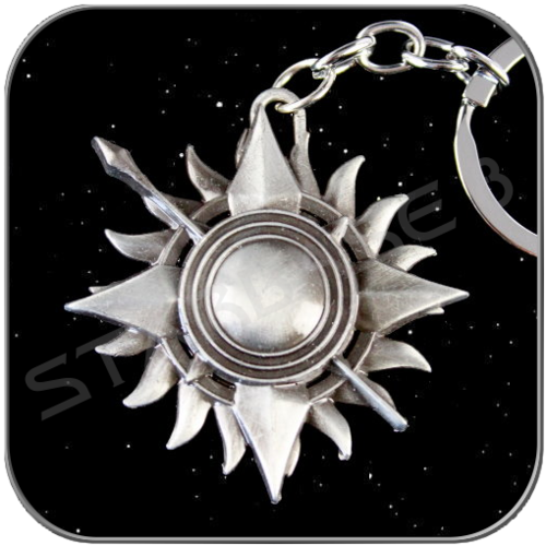 MARTELL 3D SYMBOL in ANTIQUE SILVER KEYCHAIN