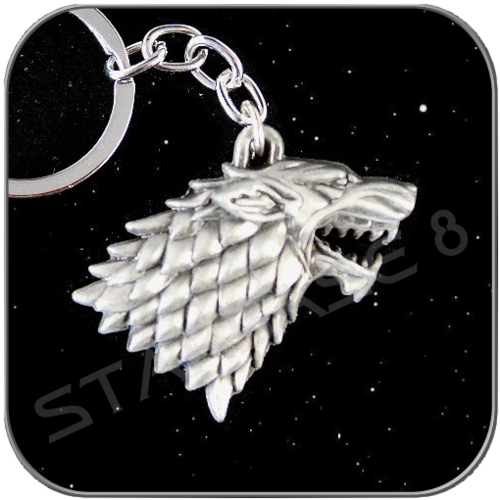 STARK 3D SYMBOL in ANTIQUE SILVER KEYCHAIN
