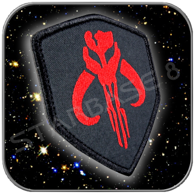 SKULL SHIELD MANDALORIAN BOBA FETT - STAR WARS HIGH QUALITY TEXTILE PATCH with KLETT