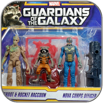 GROOT & ROCKET & NOVA - HASBRO ACTION FIGUREN SET - GUARDIANS OF THE GALAXY