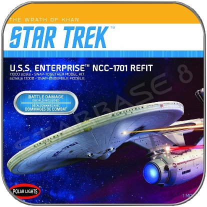 U.S.S. ENTERPRISE 1701 TWOK BATTLE DAMAGE (1/1000 POLAR LIGHTS BAUSATZ)